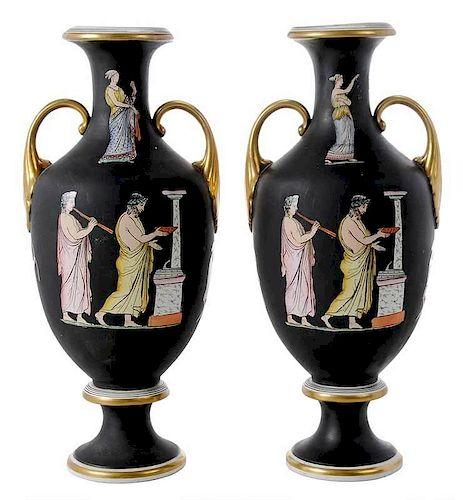 Pair of Neoclassical Porcelain Urns