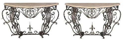 Pair Wrought Iron Stone Top Consoles
