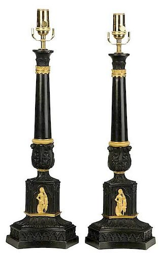 Pair of Gilt Bronze Mounted Lamps
