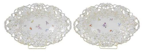 Pair of Meissen Reticulated Leaf Bowls