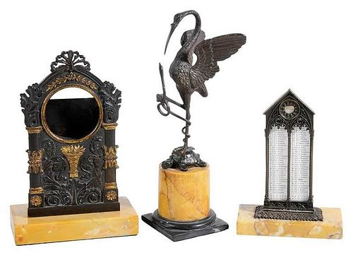 Three Grand Tour Bronze Table Top Items
