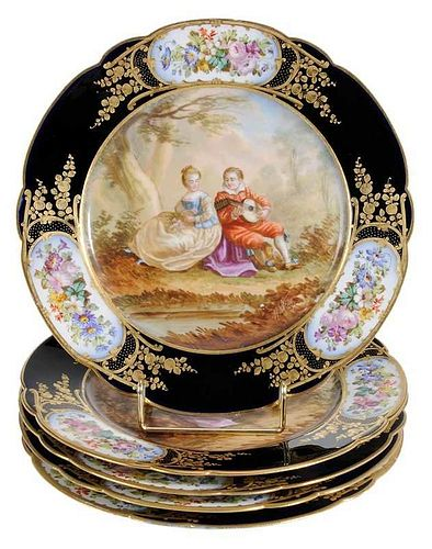 Five Sevres Hand Painted Plates