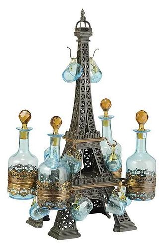 19th Century Eiffel Tower Tantalus Set