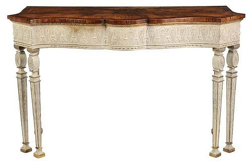 Fine Adam Style Inlaid Satinwood Pier Table