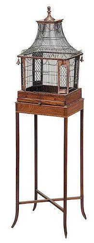Fine Georgian Inlaid Mahogany Birdcage on Stand
