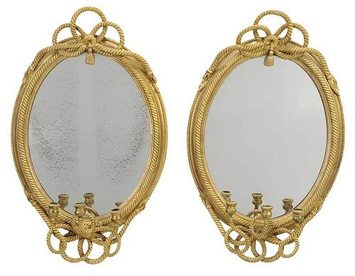 Pair Regency Style Rope Decorated Gilt Mirrors