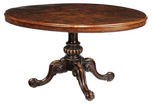 Victorian Inlaid BurlwoodOval Center Table