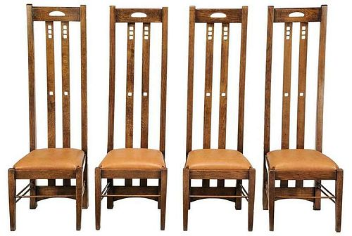 Set of Four Scottish Arts and Crafts Chairs