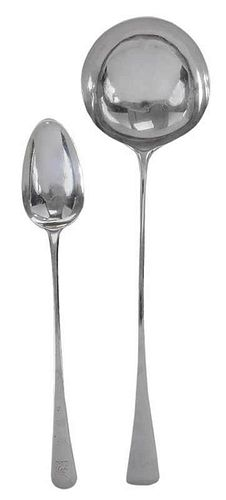 English Silver Ladle and Stuffing Spoon