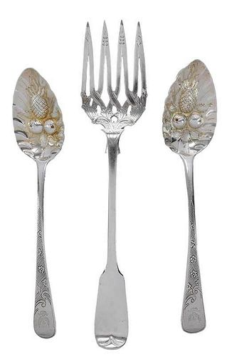 Three Pieces English Silver Flatware