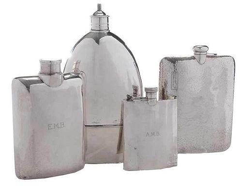 Four Sterling Flasks