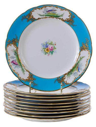 Set of Ten Mintons Gilt Bird Plates