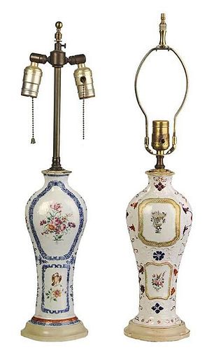 Two Export Vases Converted To Lamps