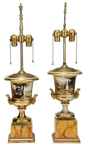 Pair of Gilt Porcelain Urns Converted to Lamps