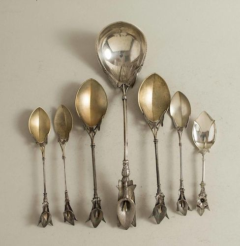 Assembled Silver Ladle & Serving Spoons, Lily Handles