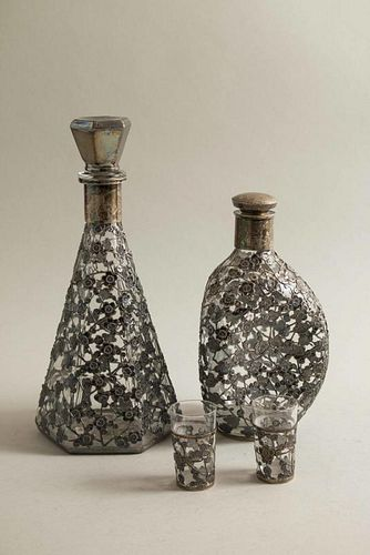 Two Glass Decanters & Shot Glasses with Silver Overlay