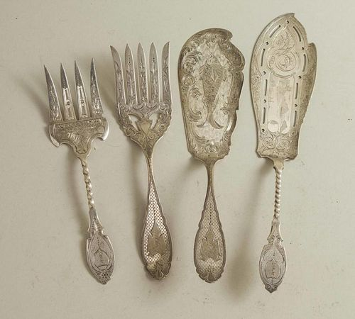 Two Silver Fish Serving Sets
