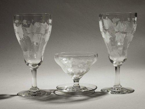 Three Locke Art Glass Table Items in Ivy Pattern