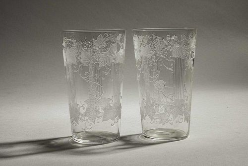 Two Locke Art Glass Tumblers in Ivy and Line Pattern