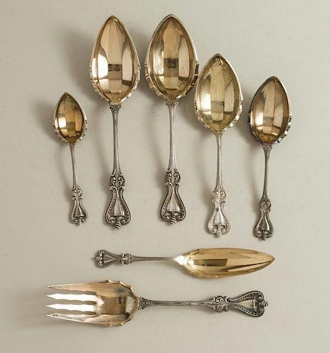 7 Gilt Sterling Serving Pieces, Towle, Old Colonial
