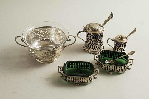 Five Glass Lined Sterling Silver Table Articles