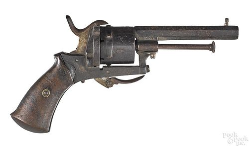 Belgian pin fire folding trigger revolver