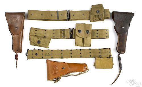Three US Military web belts