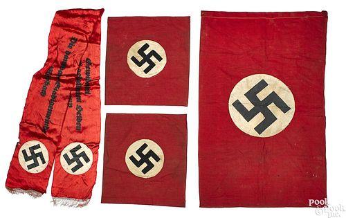 Three Nazi German flags and a funeral sash