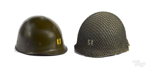 American WWII M1 helmet with mesh cover