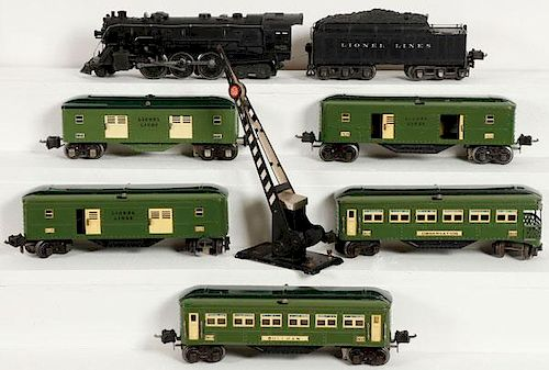 LIONEL O GAUGE PASSENGER SET AND CROSSING GATE by Jackson's