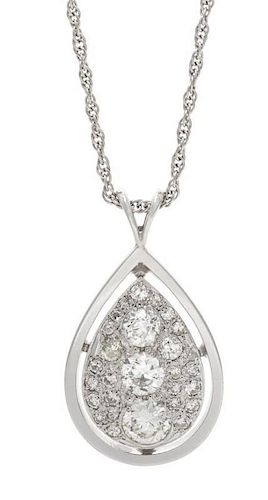 A White Gold and Diamond Pendant, 5.40 dwts.