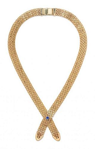 * A Yellow Gold and Sapphire Criss Cross Necklace, 37.40 dwts.