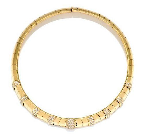 An 18 Karat Yellow Gold and Diamond Collar Necklace, Brasolin, 63.20 dwts,