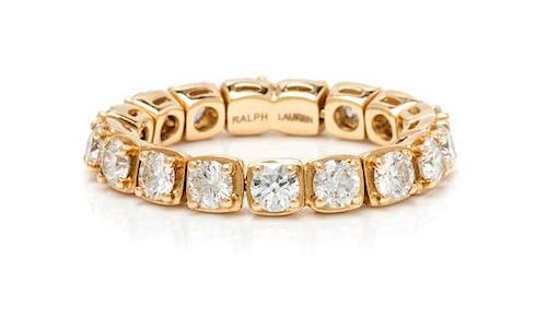 An 18 Karat Yellow Gold and Diamond Flexible Eternity Band, Ralph Lauren, 3.20 dwts.
