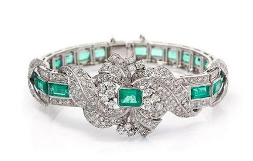 A Platinum, White Gold, Emerald and Diamond Bracelet, 22.90 dwts.