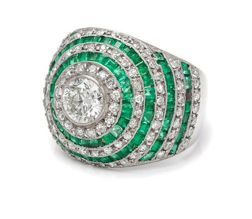 A Platinum, Diamond and Emerald Ring, 6.40 dwts.