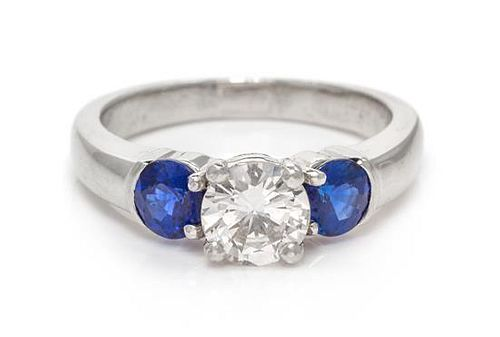 A Platinum, Diamond and Sapphire Ring, 5.50 dwts.