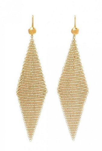 A Pair of Yellow Gold Mesh Earrings, 5.50 dwts.