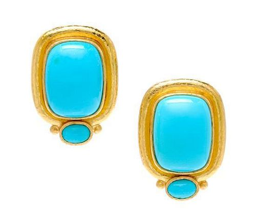 * A Pair 18 Karat Yellow Gold and Turquoise Earclips, Elizabeth Locke, 11.70 dwts.