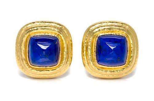 * A Pair of 19 Karat Yellow Gold and Lapis Lazuli Earclips, Elizabeth Locke, 11.10 dwts.
