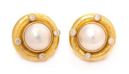 * A Pair of 18 Karat Yellow Gold, Diamond and Mabe Pearl Earclips, Elizabeth Locke, 12.10 dwts.