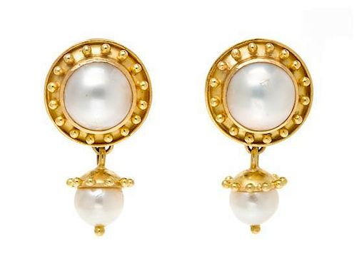 * A Pair of 18 Karat Yellow Gold, Cultured Pearl and Mabe Pearl Drop Earclips, Elizabeth Locke, 11.20 dwts.