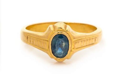 A Yellow Gold and Sapphire Ring, 5.80 dwts.