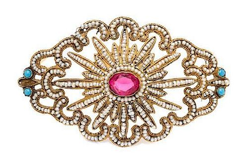 * An Antique Yellow Gold, Seed Pearl and Glass Brooch, 7.30 dwts.