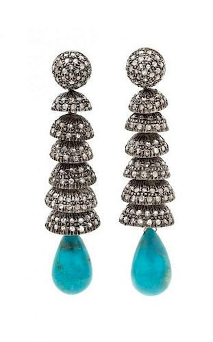 A Pair of Gilt Silver, Diamond and Turquoise Dangle Earrings, 21.00 dwts.