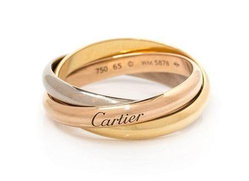 An 18 Karat Tricolor Gold 'Trinity' Ring, Cartier, 8.00 dwts.