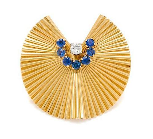 A Retro 18 Karat Yellow Gold, Sapphire and Diamond Brooch, George Schuler for Tiffany & Co., 6.40 dwts.