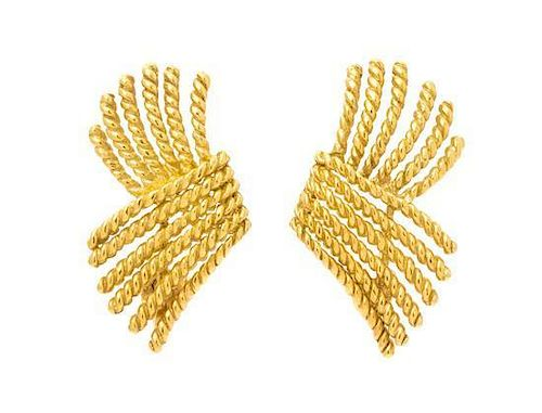 A Pair of 18 Karat Yellow Gold 'V-Rope' Earrings, Schlumberger for Tiffany & Co., 9.40 dwts.