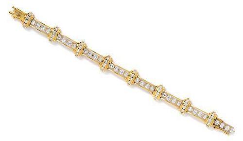 An 18 Karat Yellow Gold and Diamond Bracelet, 21.70 dwrts.