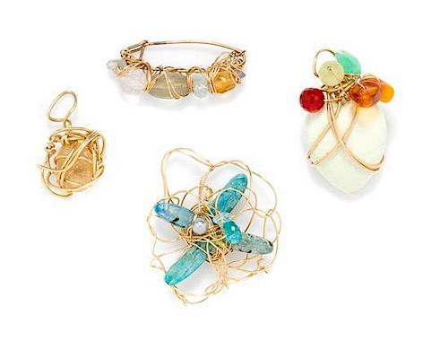A Collection of Yellow Gold Wire Wrapped Multigem Jewelry, Kazuko Oshima, 28.50 dwts.